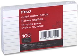 Index Cards MEAD 3x5 Ruled 100 pk