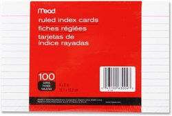 Index Cards MEAD 4x6 Ruled 100 PK
