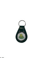 MSSU Green Leather Keychain